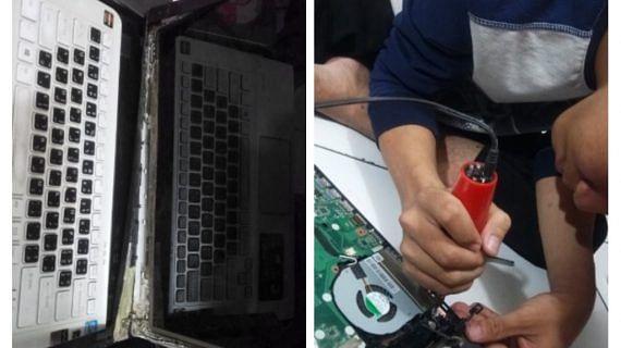 Repair Engsel Rusak Parah Jatuh dari Meja